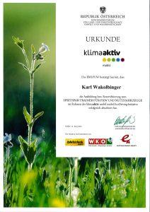 Urkunde Klimaaktiv Karl Wakolbinger